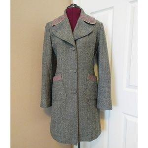 GUESS Wool Blend Herringbone Coat